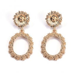 A-QF-30N3302 Gold Sunflower Ore Korean Earrings Malaysia