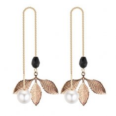 P132093 Gold Petals Black Bead White Pearl Korean Hook Earrings