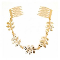 A-H2ER120616 Gold Leaves Greek Style Hair Clip Brush Style