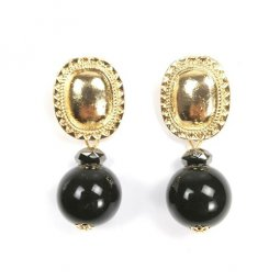 A-SD-XL0655black Black Gold Pearl Statement Earrings Malaysia