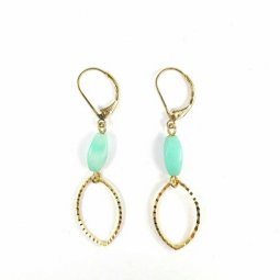 B-MLSF-005 Turqoise Green Simple Elegant Golden Earplug Malaysia