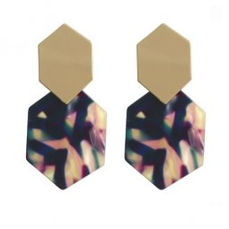 A-FX-E6044-1- Gold Dark Blue Square Earstuds Earrings