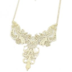 A-H2-X276 Flowery delicate gold statement necklace rantai borong