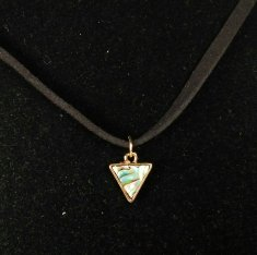 A-UK-020 Holographic Marble Green Triangle Grunge Style Choker