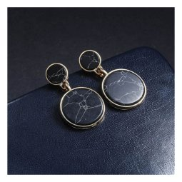 A-JT-79BLACK Black Circle Marble Trendy Korean Earstuds