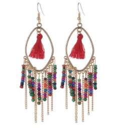 A-QD-8025co Colourful Oval Beads Tassel Hook Earrings Wholeasale