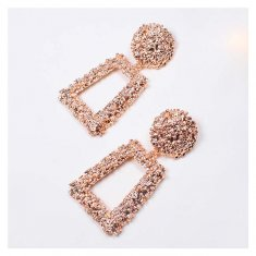 A-QDE300Peach Peach Statement Shiny Bulky Circle Square Eearring