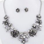 C090520168 Antique silver rose crystals necklace & earrings set