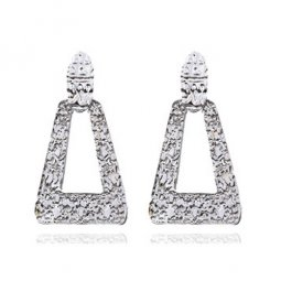 A-FX-3773GY Silver Textured Triangle Trendy Simple Earstuds
