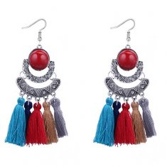 P127529 Colourful Antique Silver White Bead Tassel Earrings
