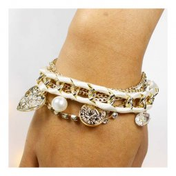 A-UN-BR02 Layered Cream Ribbon & Gold Themed Crystal Bracelet