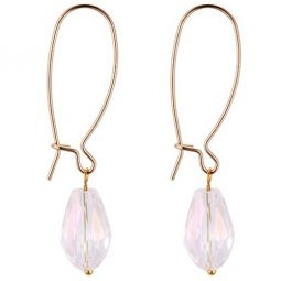 P132216 White Clear Oval Crystal Hook Earrings