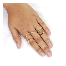 A-JW-18030502Gold Trendy Korean Style Gold Ring Set 8 Pcs