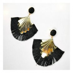 A-FX-E6653black Black Tassel Mermaid Inspired Gold Holder Earrin