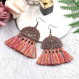 A-HH-HQEF1028colorful Colorful Vintage Moon Tassels Hook Earring