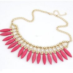 A-CJ-108X516p Pink spike crystals choker statement necklace shop