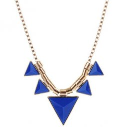 A-CJ-CZ9480 Blue Triangle Geometry Gold Statement Necklace