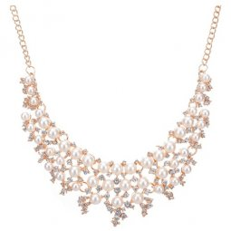 A-CJ-9028 Pearl shiny crystals white choker necklace accessories