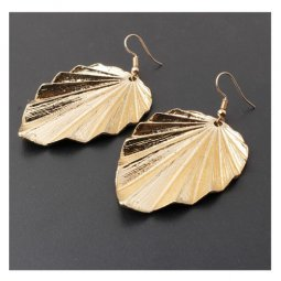 A-SD-XL0799gold Golden Leaves Korean Hook Earrings Malaysia