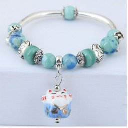 C0150706160 Blue Green Beads With Cat Charm Stretchable Bracelet