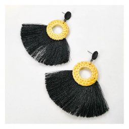 A-FX-E6115BLACK Black Tassel & Round Hoop Rattan Bali Earrings