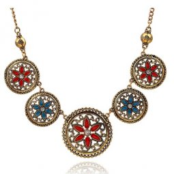A-H2-100X038 Vintage round flowery choker necklace malaysia