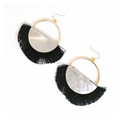 A-SD-ER0358black Black Tassel Marble Semi Circle Hook Earrings