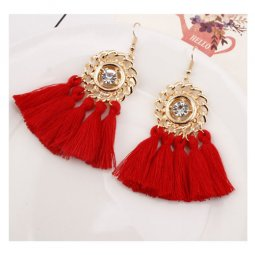 A-SD-XL0326(red) Gold Round Crystal Red Tassel Hook Earrings