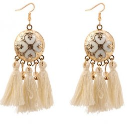 P128799 White Elegant Dinner Tassel Hook Earrings Malaysia Shop