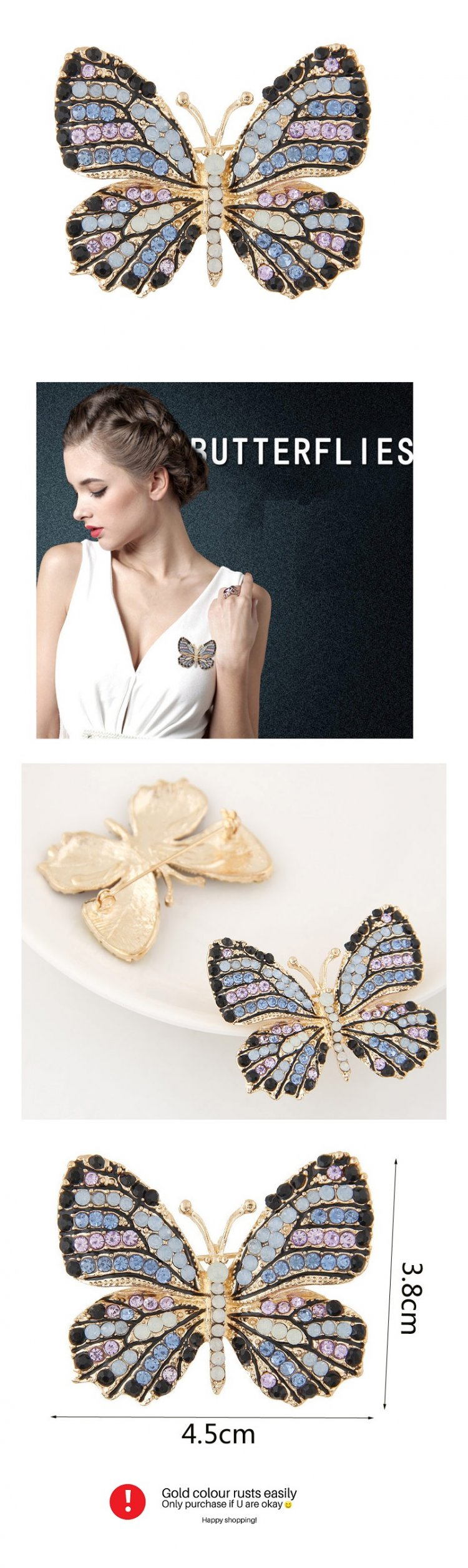 C11043217 Crystals clear beads butterfly gold premium brooch