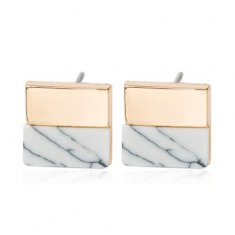 A-JW-6965 White Block Marble Trendy Gold Side Fashion Earstuds