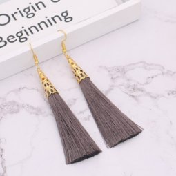 A-QM-332G Grey Gold Elegant Tassel Hook Earrings Wholesale