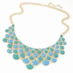 C101233130 Green blue layer moon choker necklace malaysia
