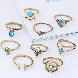 C09080277 Vintage 9 Midi Rings Set Malaysia Accessories Shop