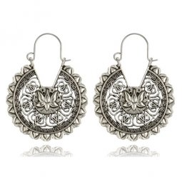 A-yG-sku4495silver Round Silver Vintage Flower Hook Earrings