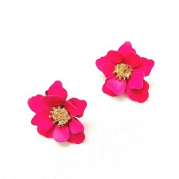 A-SD-SD0797- HotPink Classic Simple Flower Earstuds Earrings