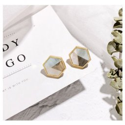 A-LG-ER0572geo Geometry Marble Tricolor Korean Style Earstuds