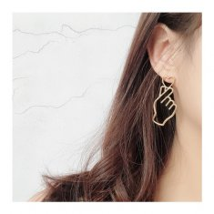 A-TT-250GOLDHEART Gold Korean Love Heart Shape Trendy Earstuds