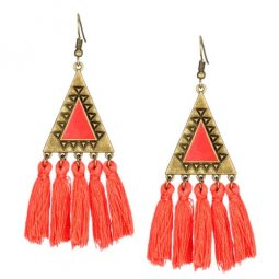 A-KJ-E020334or Orange Triangle Vintage Tassel Hook Earrings