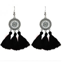 A-KJ-E020182bla Black Bohemian Flora Black Tassel Earrings