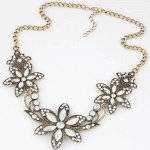 C0140308124 Vintage flower crystal shiny korean choker necklace