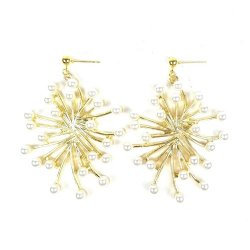 A-TT-715 Gold Firework with White Pearl Lagre Earstuds Malaysia