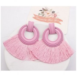 A-SD-XL113251pink Pink Huge Tassels Pink Ring Vogue Earstuds