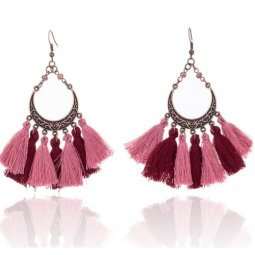 A-KJ-E020960mar Maroon Red Moon Vintage Hook Earrings