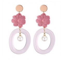 P131265 Pink Flower Oval White Ring Pearl Korean Gold Earstuds