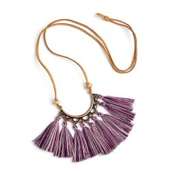 A-ZB-XL800 Purple Tassel Funky Vintage Style Necklace Shop