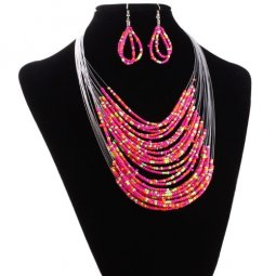 A-HY-N142 Colourful Rainbow Beads Statement Necklace & Earstud