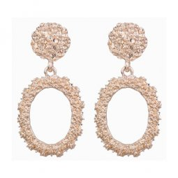 A-FX-6095RG Rose Gold Circle Texture Minimal Fashion Earstuds