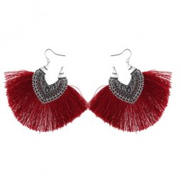 P132601 Maroon Big Tassels Heart Silver Vintage Hook Earrings