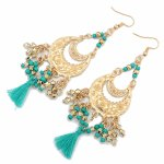 P121135 Green bohemain danlgin bead cloth hook earrings shop